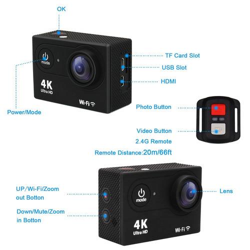 cámara deportiva extrema 4k prefeco, 16 mp, accesorios, 60tr