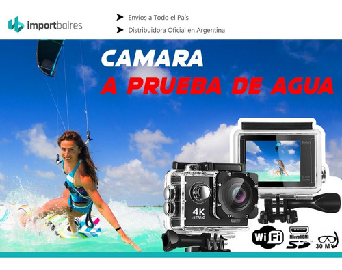 cámara deportiva go plus pro resolucion full hd 4k 16mp lcd sumergible accesorios deportes extremos surf