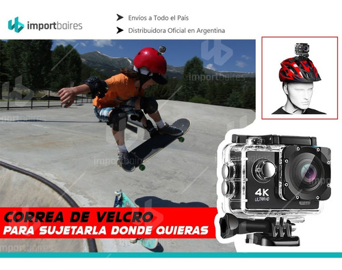 cámara deportiva go plus pro wifi 4k 16mp lcd sumergible deportes filmadora auto moto casco surf  + accesorios