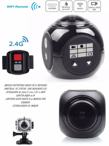 cámara deportiva panorámica 360° wifi 4k remoto sumergible