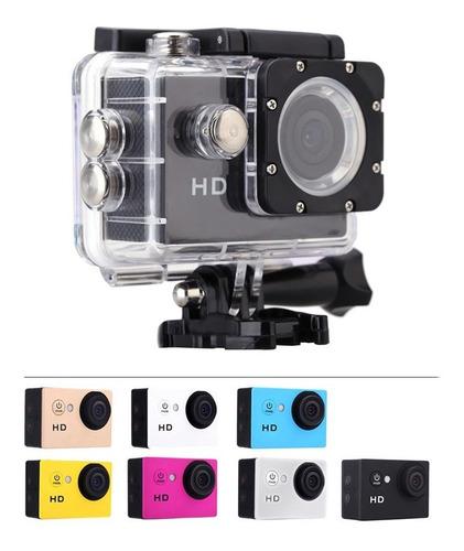 cámara deportiva sumergible a 30m lcd  + monopod selfies