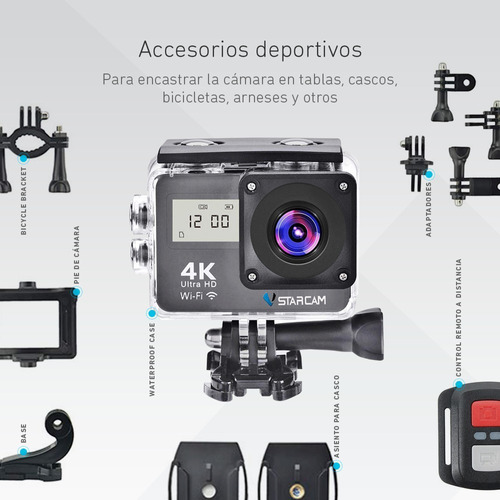 camara deportiva sumergible ultra hd 4k 16mp wifi doble lcd + control remoto + accesorios video filmadora vstarcam