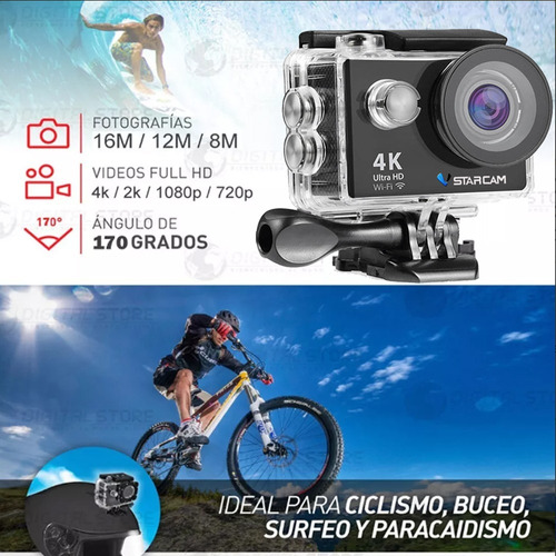 camara deportiva sumergible ultra hd 4k wifi 16mp + control