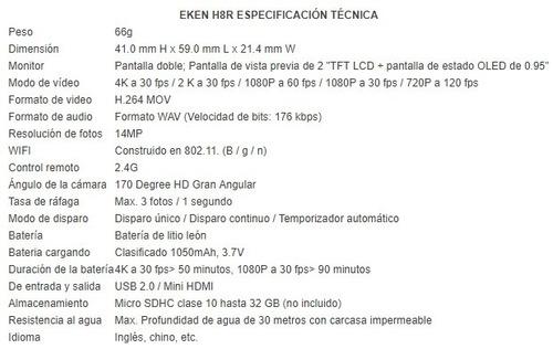 camara deportiva wifi original eken h8r 4k 14mpx contra agua