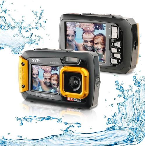 cámara digital contra el agua acqua 20 mp color naranja