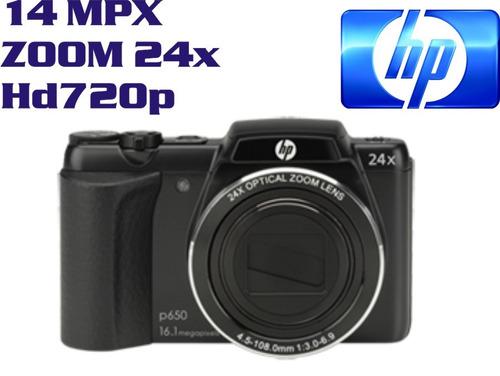 camara digital hp p650 14mp zoom 24x hd 720p con funda
