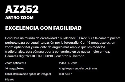 camara digital kodak az252 semi reflex 16 mp hd oficial roja