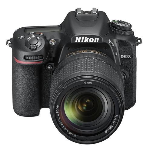 cámara digital nikon d7500 con lente 18-140mm vr -negro