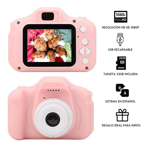 cámara digital para niños con tarjetas tf 32 gb, rosa