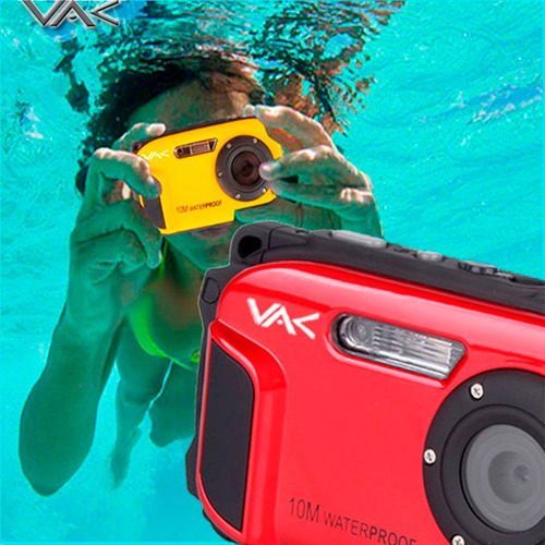 cámara digital vak dc-168 sumergible 10m face detection 16mp