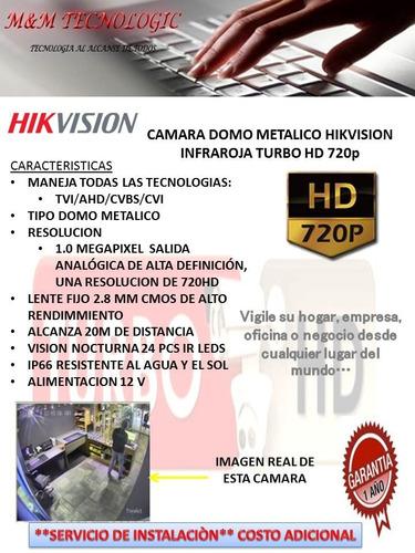 camara domo metalico hikvision hd 720p lente 2.8mm 24 leds