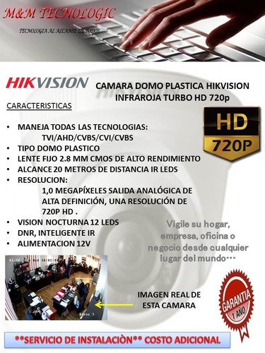 camara domo plastico hikvision hd 720p lente 2.8mm 12 leds