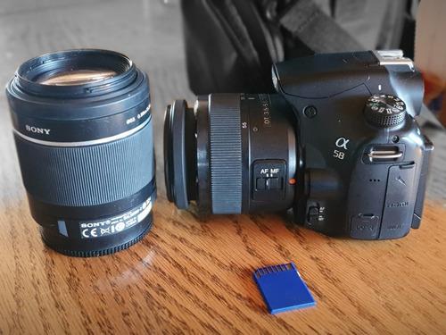camara dslr sony alpha a58 con lentes.