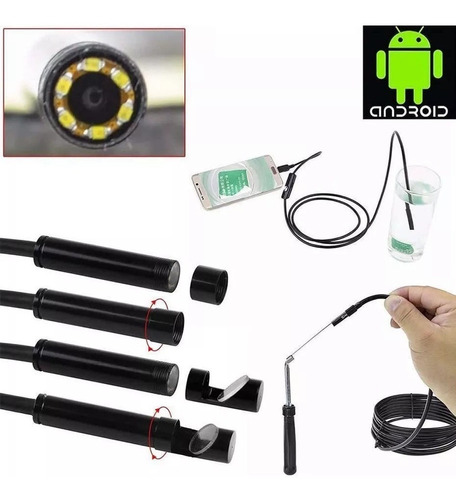 camara endoscopio usb android celular pc led micro usb 2 mts
