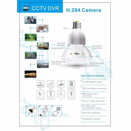 cámara espía bombillo cctv hd wifi dvr deteccion movimiento