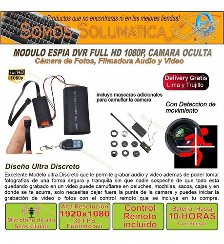 camara espia modulo full hd 1080p 10 hora video envio gratis