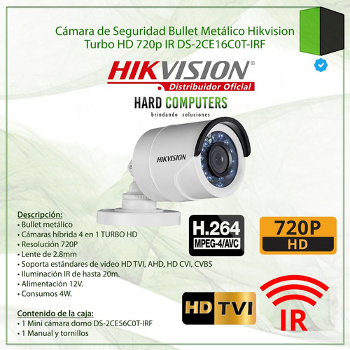 camara exterior noche 20 mts hd hikvision ds-2ce16c0t-irf