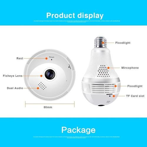 cámara foco ip panorámica 360 domo vigilancia wifi seguridad