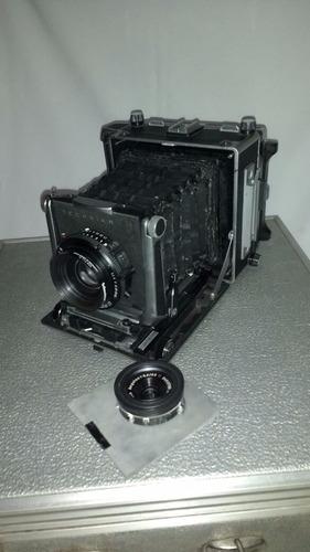 cámara fotográfica de fuelle con lente adicional y 6 chasis