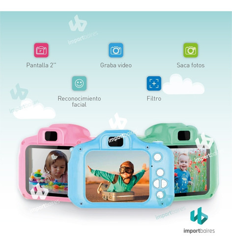 cámara fotografica digital 1080p niños niñas facil uso envio