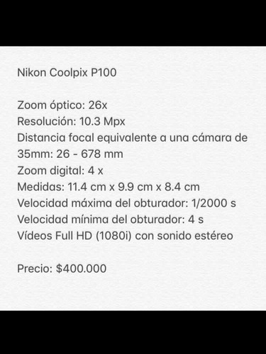 cámara fotográfica nikon coolpix p100