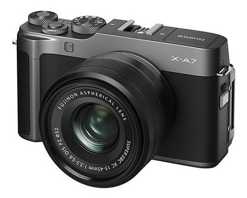 cámara fujifilm x-a7 dark silver con lente xc 15-45mm black