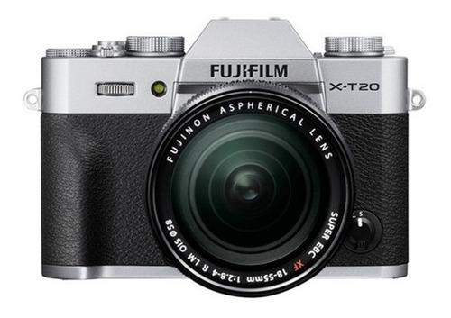 cámara fujifilm xt20 silver + lente xf18-55mm (12815)