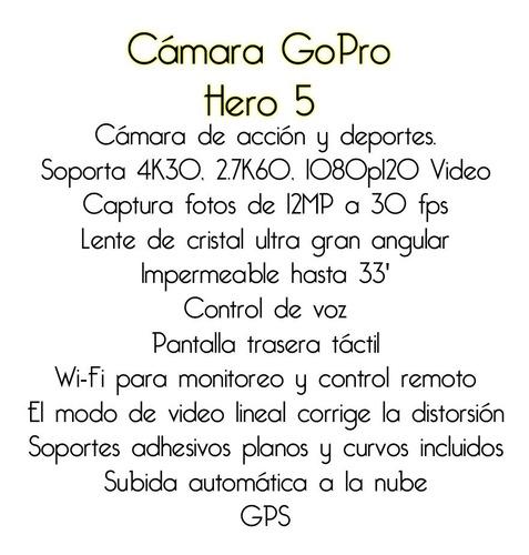 camara gopro hero 5 acción 12mp 30 fps impermeable gps bagc