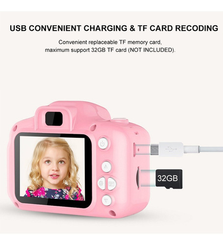 cámara hd 1080p de 2 in, 2 millones de píxeles para niños
