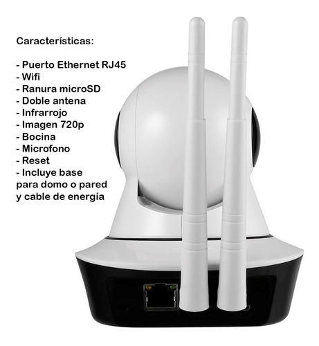 camara ip 360 wifi ethernet microfono y bocina, chip realtek
