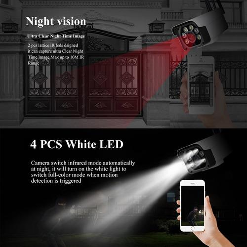 cámara ip exterior wifi audio micrófono habla y escucha vision nocturna luces led infrarrojo seguridad contra agua