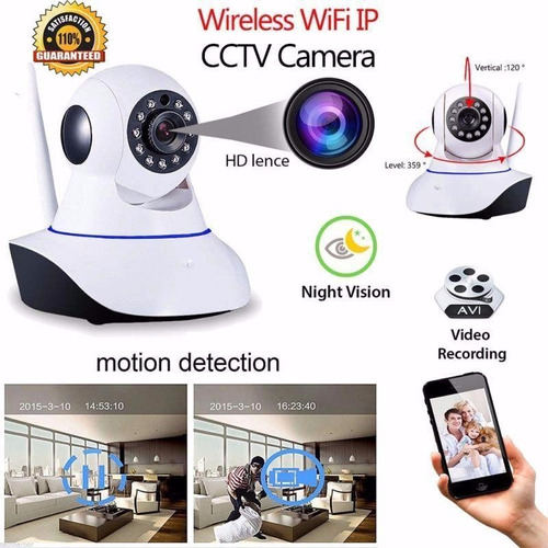 cámara ip full hd robotica wifi vigila celular alarma audio
