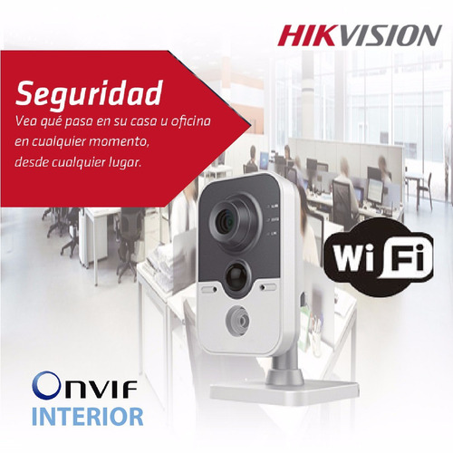 camara ip hikvision cubo wifi audio lan ds-2cd2410fiw poe1mp