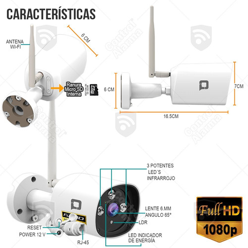 camara ip wifi exterior sensor sony 1080p graba nube gratis