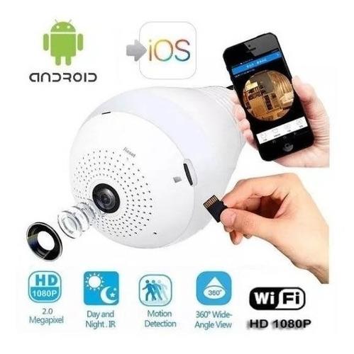camara ip wifi foco lente 360º led espia parlante sensor