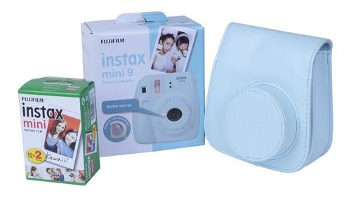 cámara mini 9 ice blue + película 20 fotos + estuche