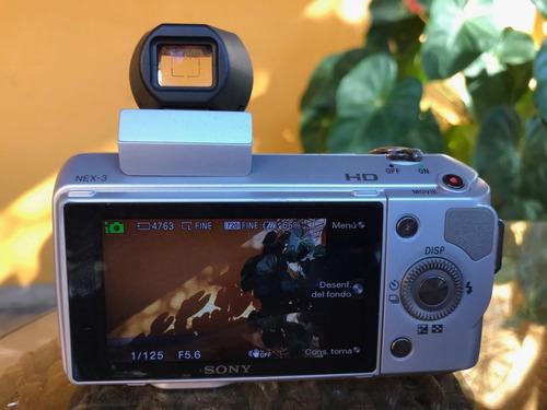 camara mirrorless sony nex 3 + 16mm f2.8 + viewfinder