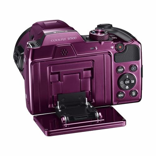 cámara nikon coolpix b500 plum + sd 16gb
