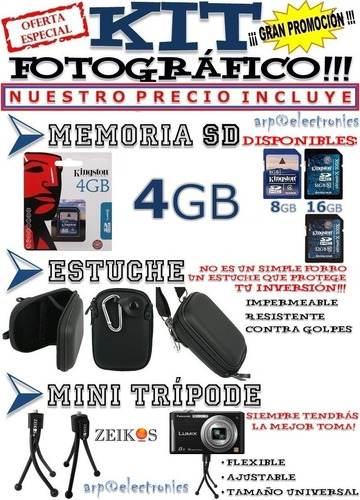 cámara nikon coolpix s3600 20mp 8x + 4gb + estuche + trípode