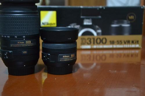 camara nikon d3100 lente 55-300 18-105 y 35 mm