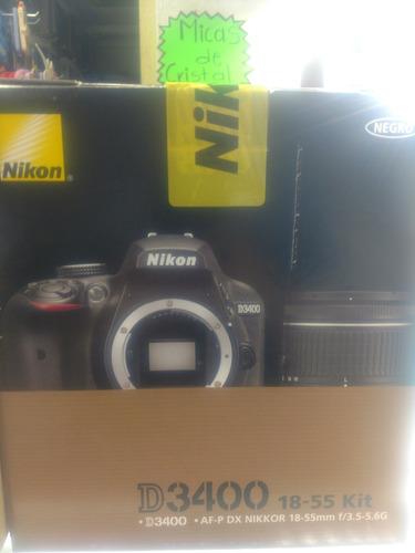 cámara nikon d3400 24 mpx profesional lente 18-55