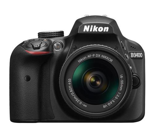 cámara nikon d3400 + accesorio lente af-p 18-55mm vr negra