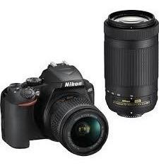 cámara nikon d3500 con 2 lentes de 18-55mm y 70-300mm
