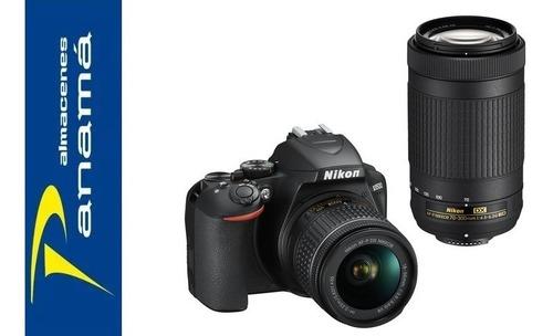 cámara nikon d3500 con lentes de 18-55 mm y 70-300 mm