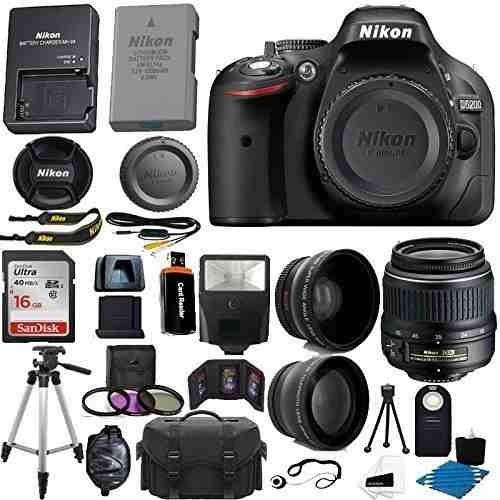 cámara nikon d5200 24.1 mp cmos slr 18-55mm f/3.5-5.6g