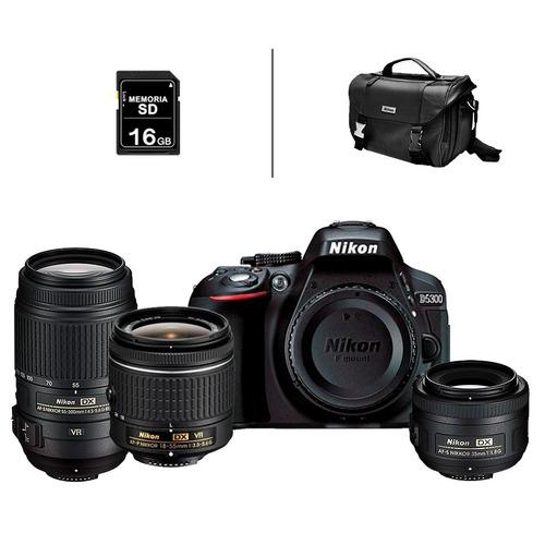 cámara nikon d5300 +18-55 + 55-300mm + 35mm