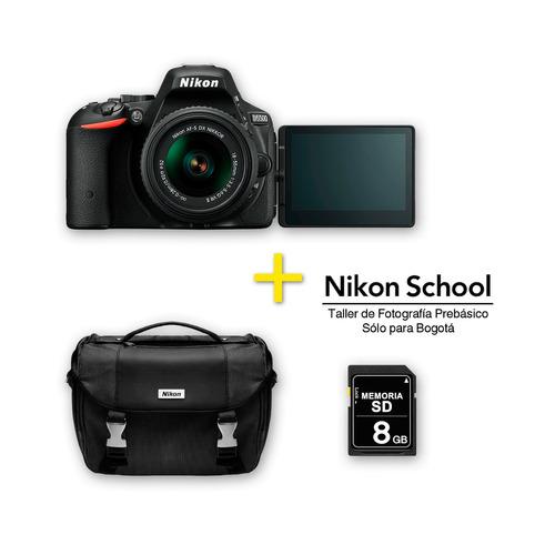 cámara nikon d5500 negra +18-55mm + sd 8 gb + maletin