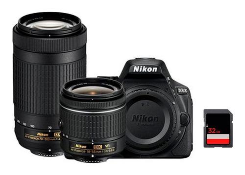 camara nikon d5600 kit 18-55mm + 70-300mm af-p + mem 32 gb