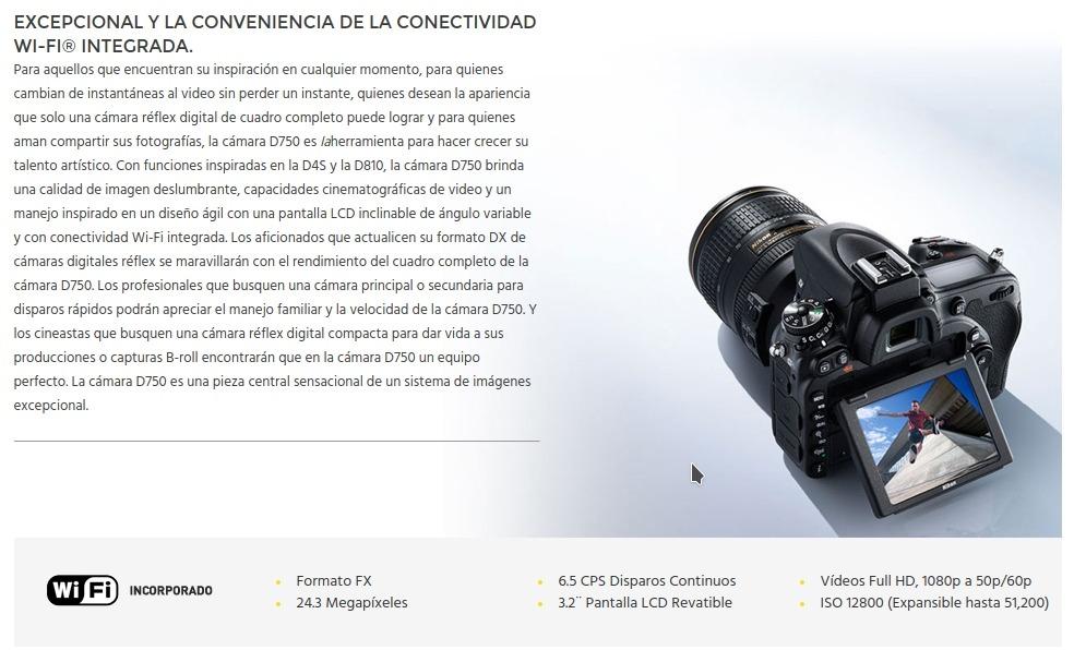 Camara Nikon D750 Body Full Frame New! 2018 24.3mp Full Hd ...