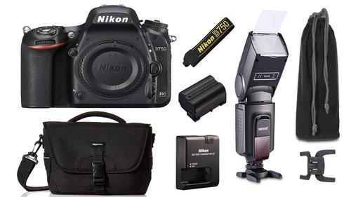 cámara nikon d750 (cuerpo) con maletín & flash externo